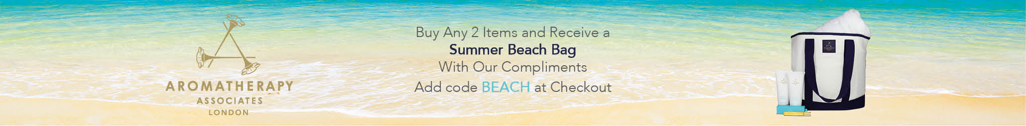 Free Beach bag with any 2 Aromatherapy Associates products
